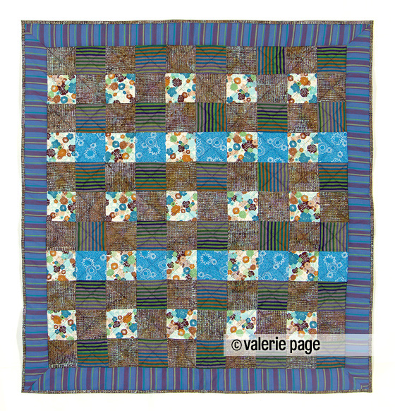 Blue and green and brown baby quilt