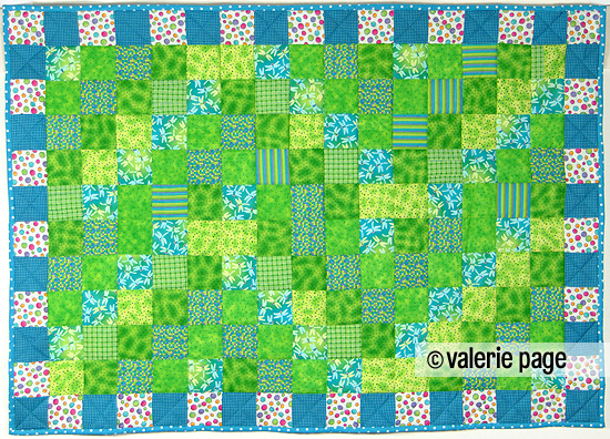 Children's Bed Quilt with Dragonflies and Polka Dots