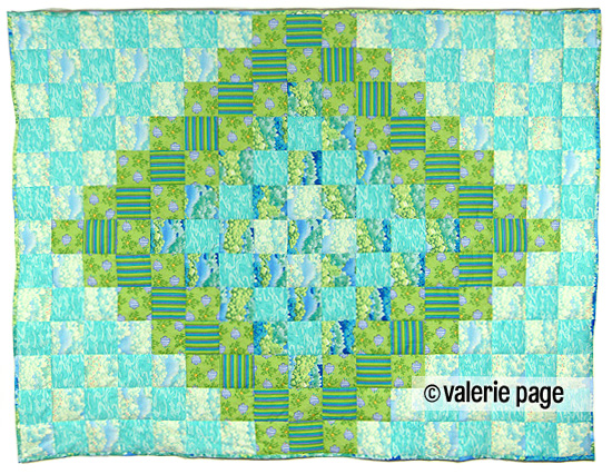 Children's Green and Blue Bed Quilt