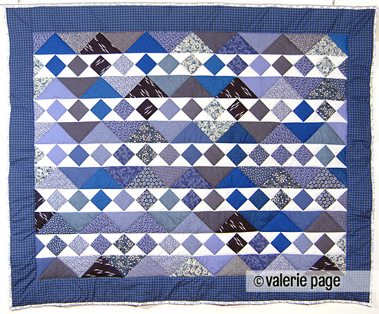 Blue and White Strippy Quilt